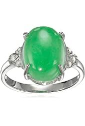 Rhodium-Plated Sterling Silver Oval Jade and Diamond Accent Ring, Size 7