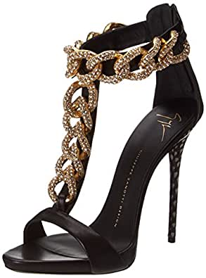 Giuseppe Zanotti Women's T-Strap Chain High Heel Dress Sandal,Nappa Neropaco,5 M US