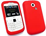 EMARTBUY SAMSUNG CH@T 335 ( S3350 ) LCD SCREEN PROTECTOR AND SILICON CASE/COVER/SKIN RED
