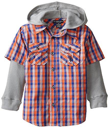U.S. Polo Assn. Little Boys' Woven Shirt With Thermal Drop Down Sleeve And Hood, Medium Grey, 7