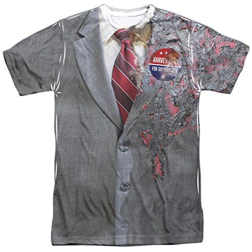 Dark Knight Two Face Costume Short Sleeve Mens Poly Crew Sublimation White Xl (Adult Twoface Costume)