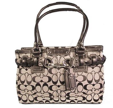 Coach Signature Hamptons Carryall Tote Handbag, Black/ White