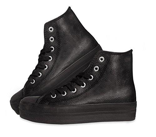 Scarpe sneakers alte modello FRANKY RAISE da donna stringate in similpelle con plateau di 3,5 cm. MWS (38, NERO)