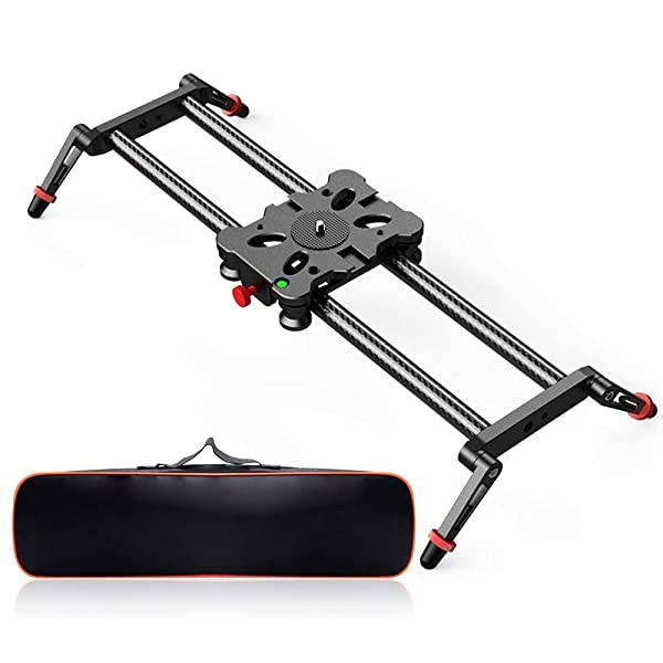 Load up to 17.6 pounds 31.5-inch APP Control Carbon Fiber Track Dolly Rail with Time Lapse Video Shot Follow Focus Shot and 360 Degree Panoramic Ball Head for DSLRs Neewer Motorized Camera Slider