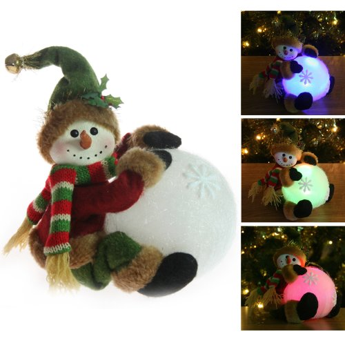 Pre-Lit Colour Changing LED Snowman Snowball Christmas Window / Table Decoration - Height 15cm