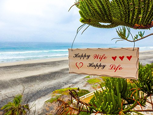 """""""Happy Wife Happy Life"""" Home Décor Wooden Sign - Wedding, Newlywed, and Anniversary Gifts for Wife - Housewarming Gifts"""