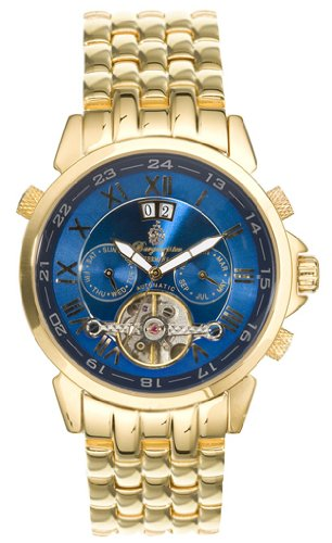 Burgmeister California Bm 118-239 Gents Automatic Analogue Wristwatch Visible Balance-Wheel Gold Blue Dial Day Date Month
