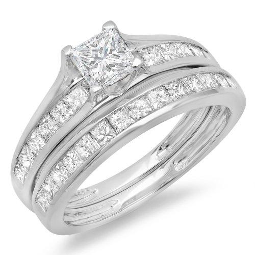 2.00 Carat (ctw) 14K White Gold Princess Cut Diamond Ladies Bridal Engagement Ring With Matching Band Set 2 CT