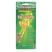 Ticonderoga Tri-Write Triangular Standard Size Pencils, Number 2 Soft, Set of 8, Yellow (13852)