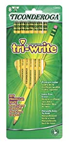 Dixon Ticonderoga Tri-Write Triangular Standard Size #2 Pencils, Set of 8, Yellow (13852)