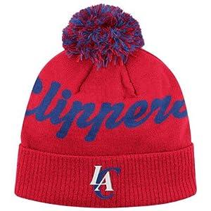 Los Angeles Clippers Adidas Red Pom Beanie Cap - NBA LA Cuffed Knit Hat by adidas