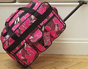 Pink Floral print Travel Holdall CABIN APPROVED Luggage Bag On Wheels Flowers trolley wheeled 18""