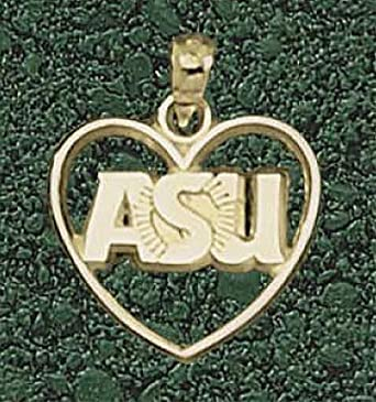 Arizona State Sun Devils ASU Sunburst Heart Pendant - 14KT Gold Jewelry by Logo Art
