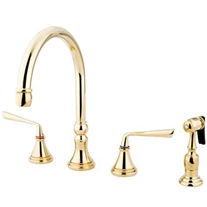 """Elements of Design ES2792ZLBS Copenhagen 8"""" to 16"""" Widespread Kitchen Faucet with Brass Sprayer, 8-1/4"""", Polished Brass"""