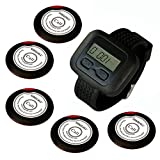 SINGCALL Wireless Calling System, Wireless Waiter Pager System, for Supermarket, for Restaurant, Cafe, Coffee Shop. Pack of 5 Pcs Table Buttons and 1 Pc Wrist Watch Receiver