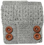 San Diego Hat Women's Knit Fingerless Glove with Wood Buttons, Grey, One Size
