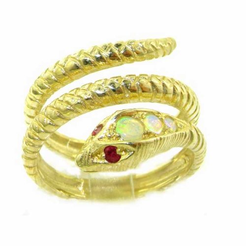 Fabulous Solid Yellow Gold Natural Fiery Opal & Ruby Detailed Snake Ring - Size 9.25 - Finger Sizes 5 to 12 Available