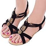 (PlaisteL) 歩きやすい 4cm ローヒール アンクル ストラップ サンダル 靴 可愛い ウッド ビーズ レディース (04. ブラック 24.5cm)