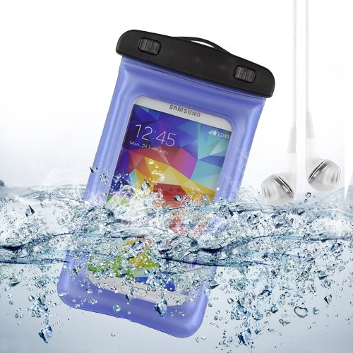 Blue Waterproof Pouch Case Dry Bag For Samsung Galaxy S5 / Note 2 / Note 3 / Lg G2 / Htc One M8 + Vangoddy White Headphone With Mic