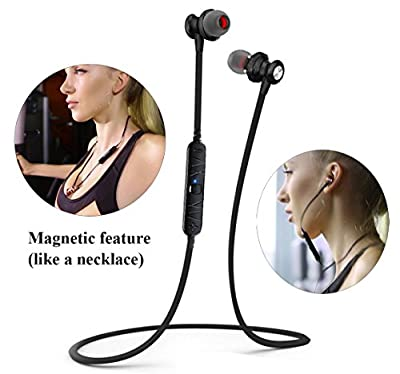 Bluetooth Headphones, V4.0 Wireless Bluetooth Stereo Heasdset Earbuds Magnet bluetooth In-Ear Earphones Sweatproof Noise Reduction Headphones with Mic for iPhone, iPad, Android Phones-Black