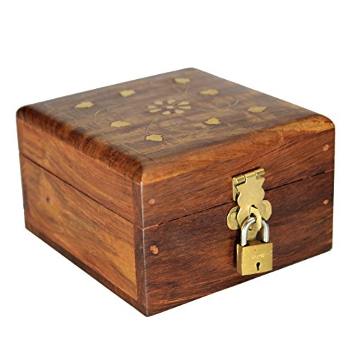 Decorative Jewelry Box With Lock Wooden Storage Keepsake Watch Box Floral Brass Inlay With Red Velvet Base & Roof 4 4 Inches Unique Birthday Gift Ideas For Women Girls