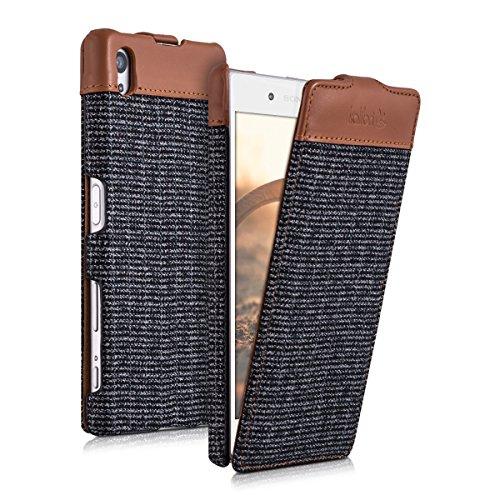 kalibri-Flip-Case-Hlle-Emma-fr-Sony-Xperia-Z5-Aufklappbare-Stoff-und-Echtleder-Schutzhlle-Tasche-im-Flip-Cover-Style-in-Braun-Anthrazit