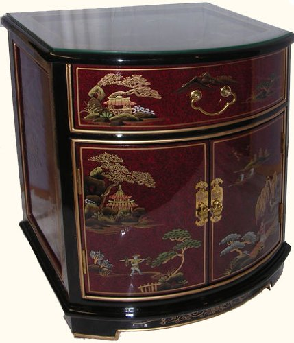 Image of 24 Inches High.oriental End Table Hand Painted Lacquer with Glass Top At Import Direct Pricing (Mop-24-1+4 GC-rnd)