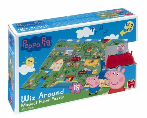 Peppa Pig Wiz Around 18 Piece Musical Floor Jigsaw Puzzle (Incl. Wind Up Family Car Figurine and Muscial Sound Box)