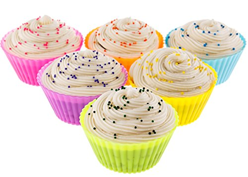 Silicone Baking Cups By Cutie Cups- Set Of 12 Reusable Food Grade Cupcake And Muffin Liners Wrappers- Bpa Free And Fda Approved - Great For Bento Lunch Box Holders - Non Stick Bakeware And Dessert Molds - 100% Satisfaction Guarantee