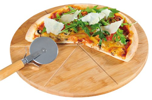 kesper-58462-tabla-y-cortador-de-pizza-madera-de-bambu-diametro-32-cm-grosor-15-cm