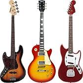 軽音部入部セット エレキギター&ベース3本(レスポールタイプ/ムスタングタイプ/ジャズベースタイプ)まとめセット【コレクション、コスプレ、楽器入門に♪】