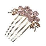 So Beauty Charm Fashion Lady Girl Flower Pattern Alloy Rhinestone Barrette Hair Clip Comb--Gold