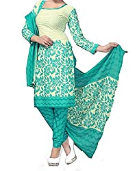 Vedant Vastram Woman's Poly Cotton Printed Unstitched Dress Material (Green & Off White Colour)
