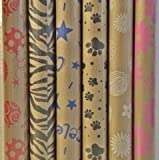 "Printed Kraft Paper / Wrapping Paper, 30"" x 10' Rolls, Pack of 3, prints may vary (dog paw print, zebra print, pink daisies, white daisies, blue stars, red balloons)"