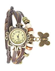 Felizo Vintage Watch With Round Dial And Butterfly Charm (Brown)