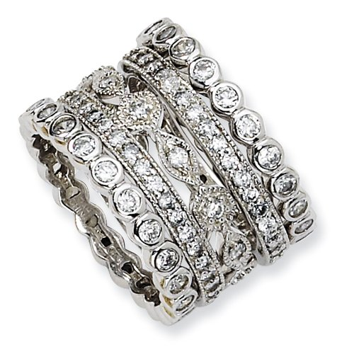 Sterling Silver Cz Eternity Five Ring Set, Size 7