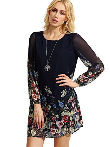 Floerns Women's Chiffon Floral Long Sleeve Shift Dress Dark Navy XL