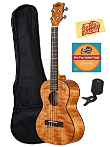 Kala KA-TEM Exotic Mahogany Tenor Ukulele Bundle with Gearlux Gig Bag, Austin Bazaar Instructional DVD, Clip-On Tuner, and Polishing Cloth