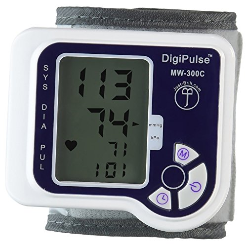 Blood Pressure Cuff Wrist Monitor Automatic Digital Sphygmomanometer - BP Machine Measures Pulse, Diastolic and Systolic - High Accurate Meter Best Reading High Normal and Low DigiPulse by Just-Brill (Cotton Blood Pressure Cuff compare prices)