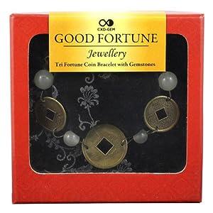 Bracelet Feng Shui porte-bonheur pièces et perles de jade