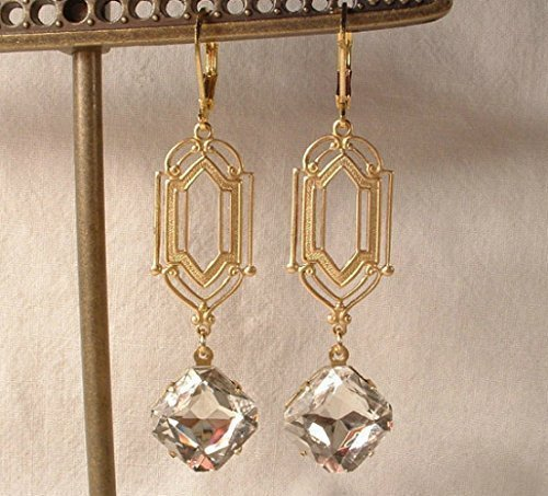 Art Deco Clear Rhinestone Gold Dangle Earrings, Long 1920s Bridal Earrings, Flapper Great Gatsby Wedding Jewelry Bridesmaids Gift