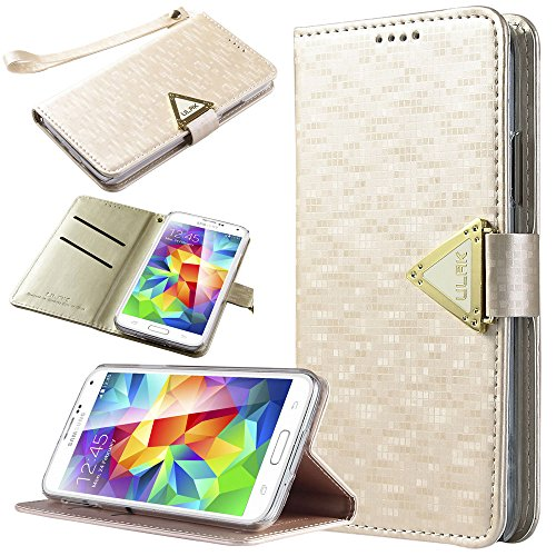 """ULAK Galaxy S5 Case Flip Case with Credit Card Case Design + Wallet Synthetic Leather Construction and Fold Stand for Samsung Galaxy S5 (5.1"""" inch) 2014 Release by ULAK"""