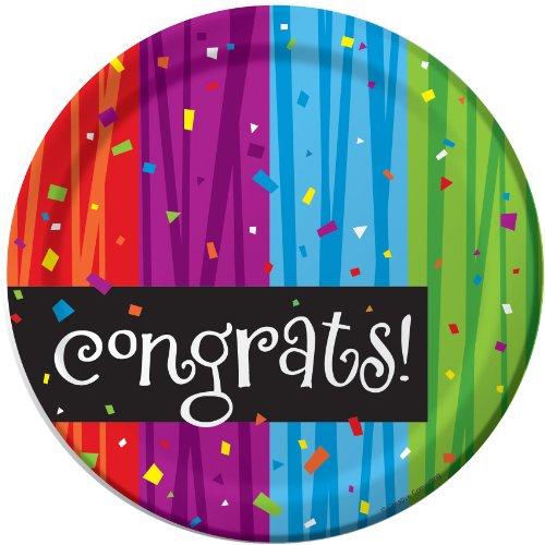 Creative Converting Milestone Celebrations Round Dessert Plates, 8-Count, Congrats