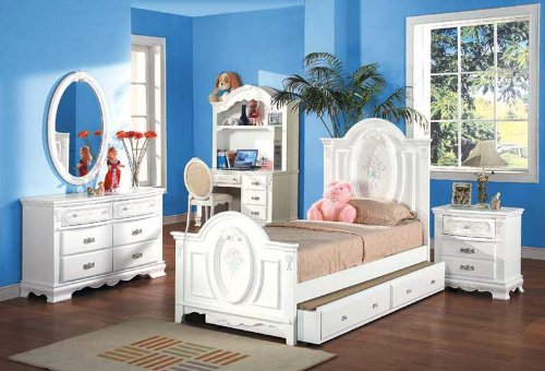 Cheap New 4pcs Youth Kid Full Girl Bedroom Set, #A1677F (A1677F)