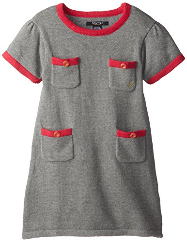 Nautica Little Girls' Sweater Dress With Pockets And Novelty Logo Button Details 2, Medium Grey Heather, 5 front-1039926