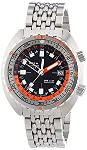 Doxa Sub 750T GMT Sharkhunter Men's Automatic Watch with Black Dial Analogue Display and Silver Stainless Steel Bracelet 850.10.101N.10