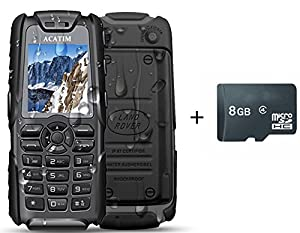 Acatim Unlocked Military Version IP67 Unblocked Waterproof Dustproof Shockproof Cell Phones with 8GB TF Card ,Dual Sim Cards , Standby 60days with LED Flashlight & 5000mAh Power Bank Function(Black)