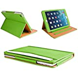MOFRED® Green & Tan Apple iPad Air (Launched 2013) Leather Case-MOFRED®- Executive Multi Function Leather Standby Case for Apple iPad Air with Built-in magnet for Sleep & Awake Feature