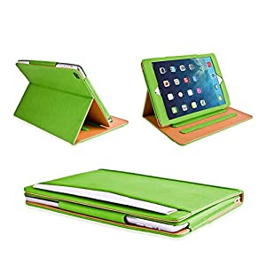 MOFRED Green & Tan Apple iPad Air (Launched November 2013) Leather Case-MOFRED®- Executive Multi Function Leather Standby Case for Apple New iPad Air with Built-in magnet for Sleep & Awake Feature