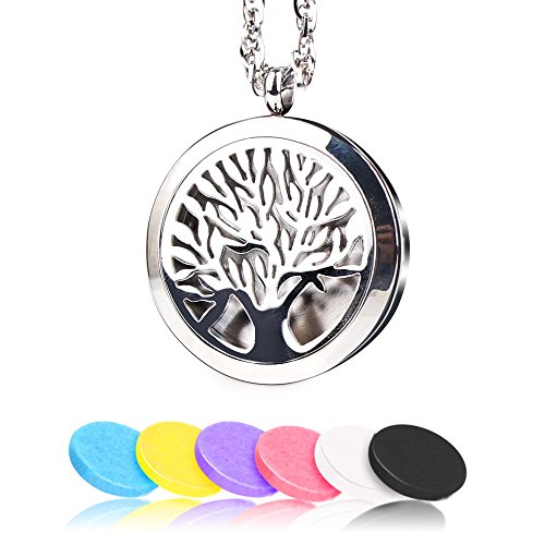 Aromatherapy Essential Oils Diffuser Necklace Tree Of Life 316L Surgical Stainless Steel Fragrance Pendant & 6 Felt Pads Jewelry Gift Set 24 Inch Chain for Birthday Gift